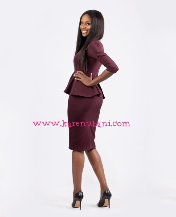 Envelope Collar Detail Peplum Dress-Burgundy 3