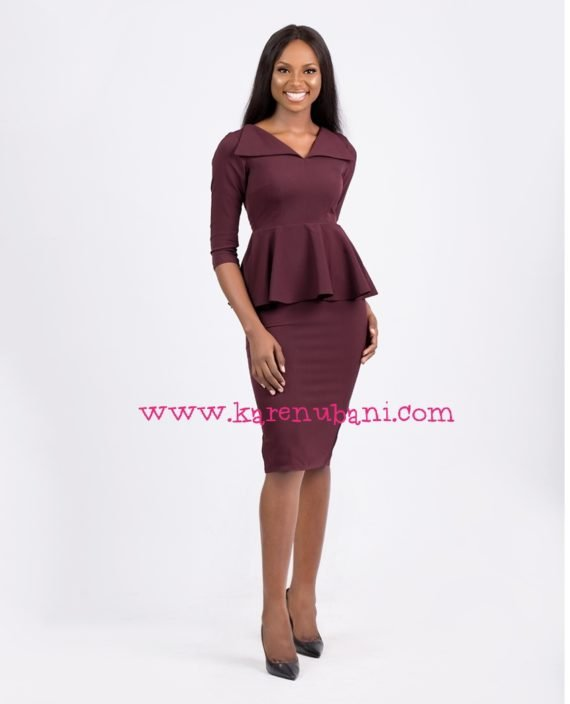 Envelope Collar Detail Peplum Dress-Burgundy 2