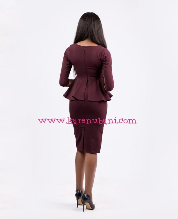 Envelope Collar Detail Peplum Dress-Burgundy 4