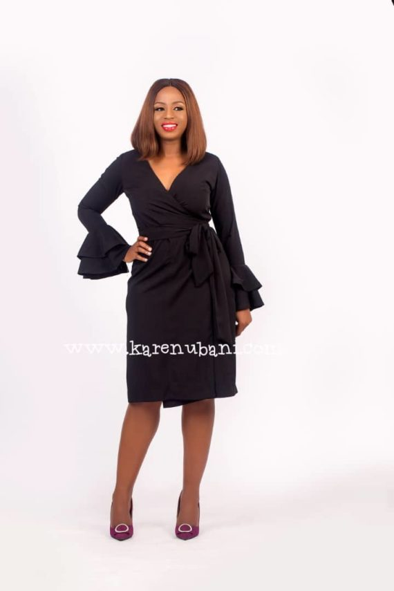 Black Wrap Dress With Ruffle Sleeves 2