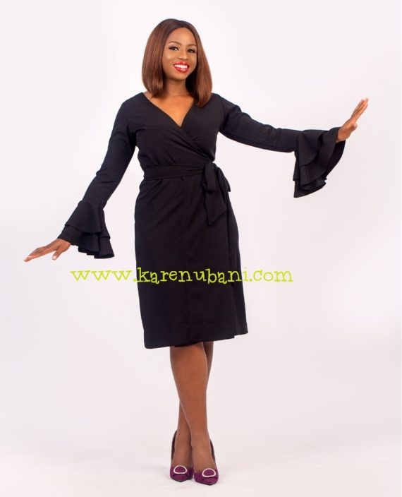 Black Wrap Dress With Ruffle Sleeves 1