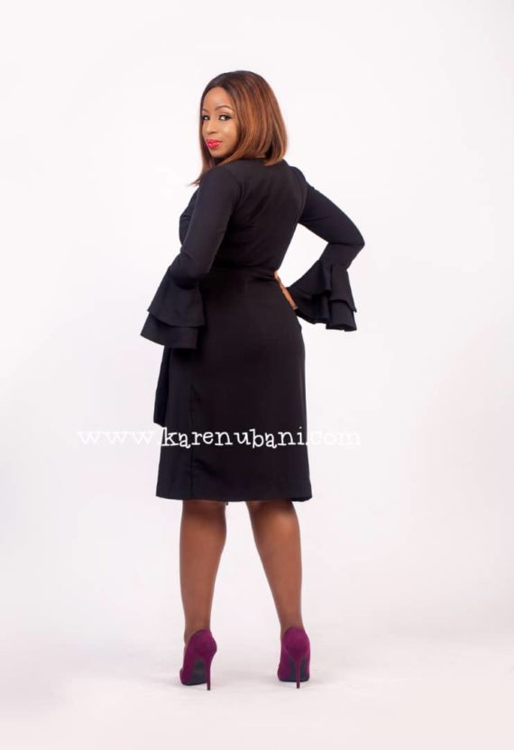 Black Wrap Dress With Ruffle Sleeves 4