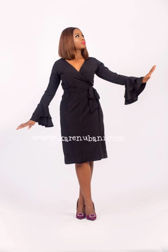 Black Wrap Dress With Ruffle Sleeves 5