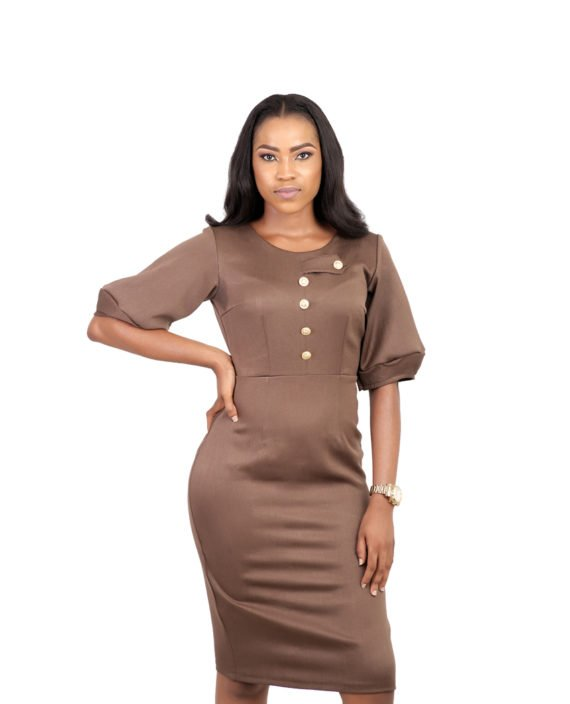Mocha Brown Midi Pencil Dress 5