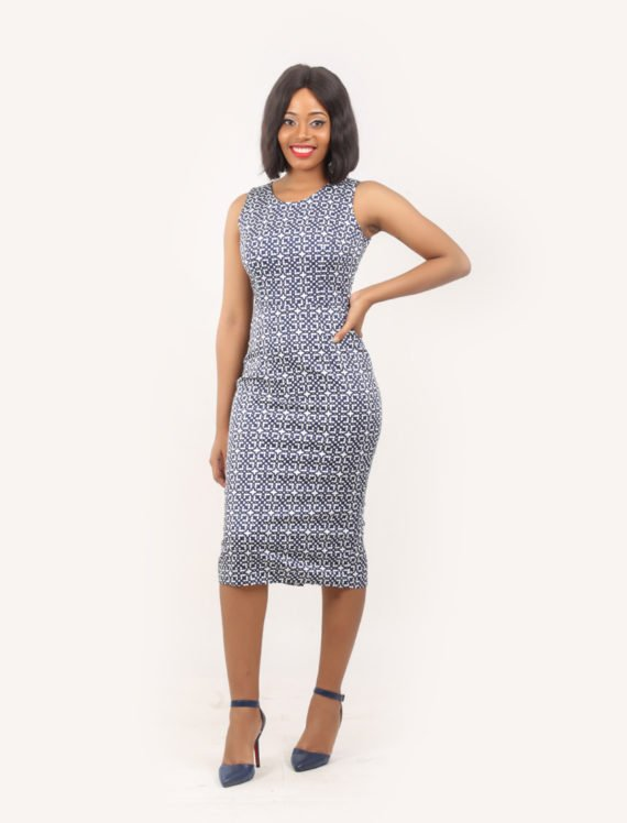 The Heather sleeveless pencil dress (Blue and white print) 1
