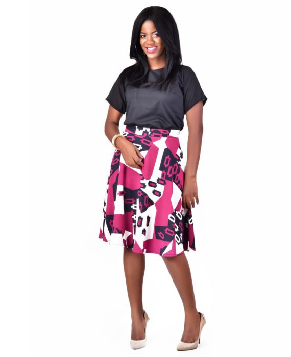 Purple Print Flared Skirt 1