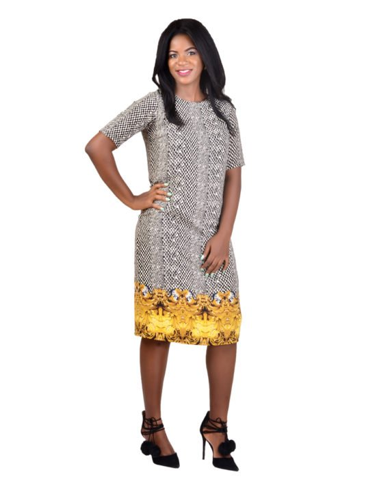 Oriental Print Shift Dress 1
