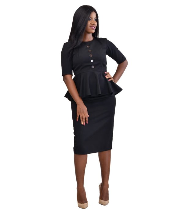 Black Two Piece Skirt Suit 4