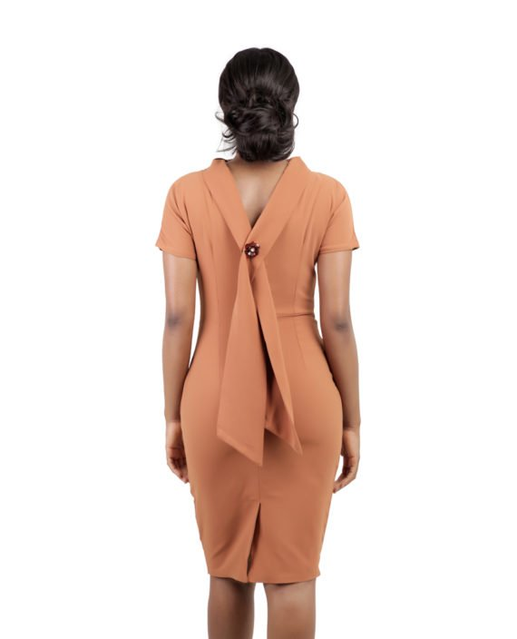 Burnt Orange Drape Detail Midi Pencil Dress 3