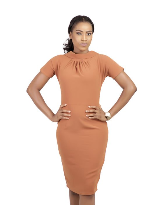 Burnt Orange Drape Detail Midi Pencil Dress 1