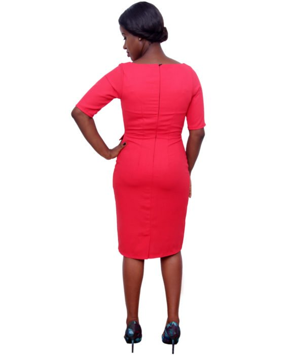 The Khloe Red Pencil Dress With Flap Pockets 4
