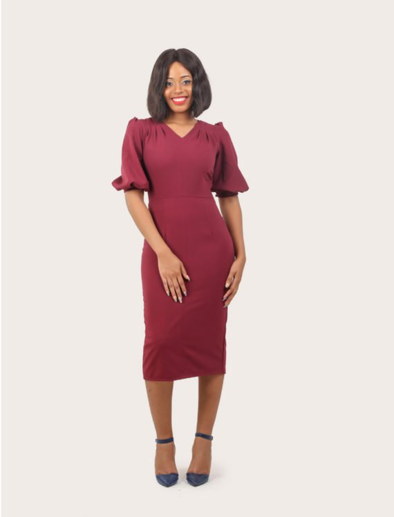 The Raspberry Draped Shoulder Wine Dress 3