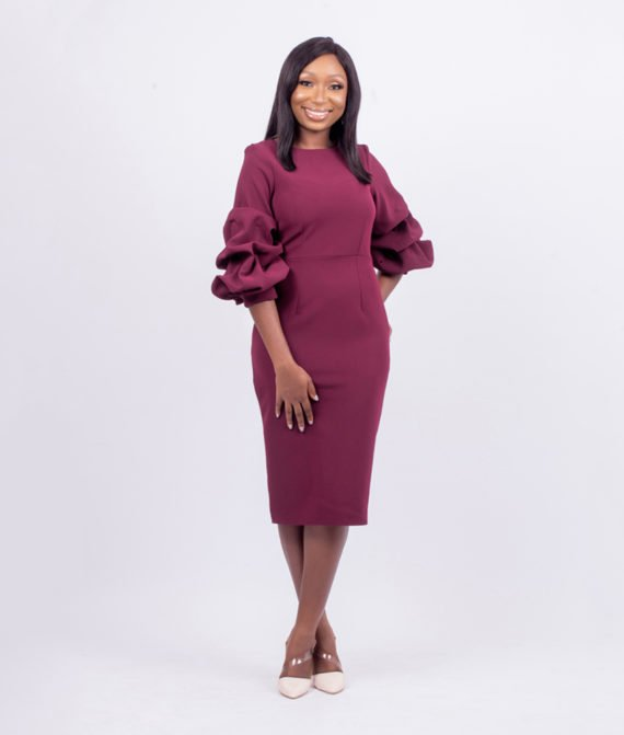 Burgundy Exaggerated Sleeves Pencil Dress 1