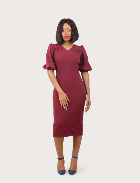 The Raspberry Draped Shoulder Wine Dress 4