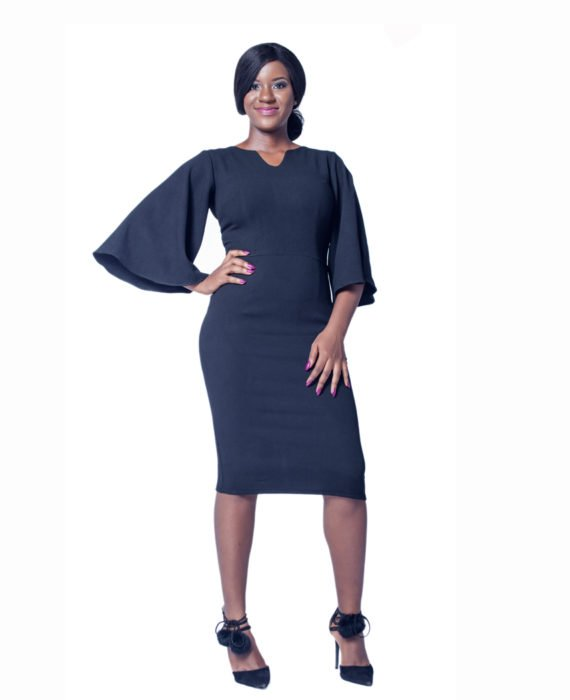 Black Profile Sleeve Pencil Dress 1