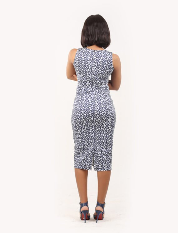 The Heather sleeveless pencil dress (Blue and white print) 3