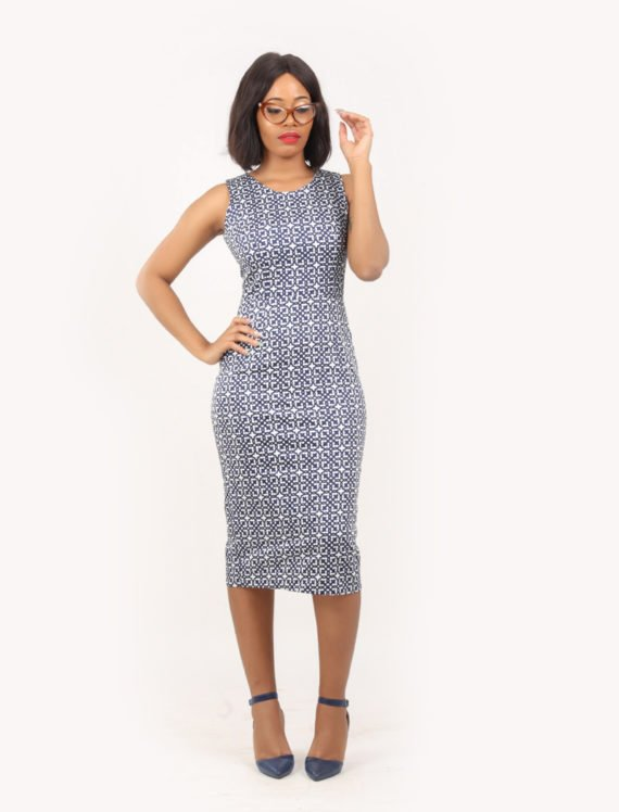The Heather sleeveless pencil dress (Blue and white print) 4