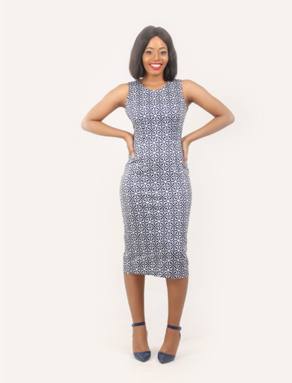 The Heather sleeveless pencil dress (Blue and white print) 2