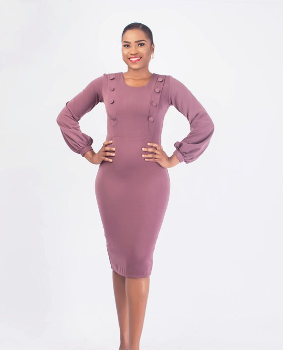 Mauve Pencil Dress With Covered Button Detail 1