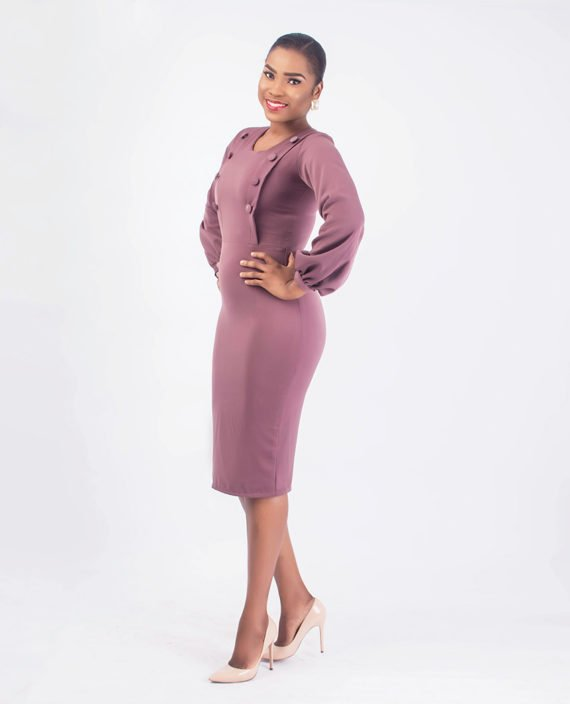 Mauve Pencil Dress With Covered Button Detail 3