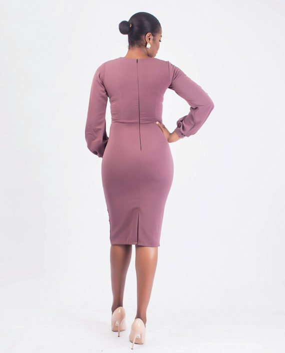 Mauve Pencil Dress With Covered Button Detail 2