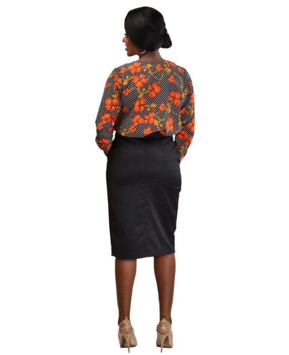 Black Pencil Skirt With Buttons 3