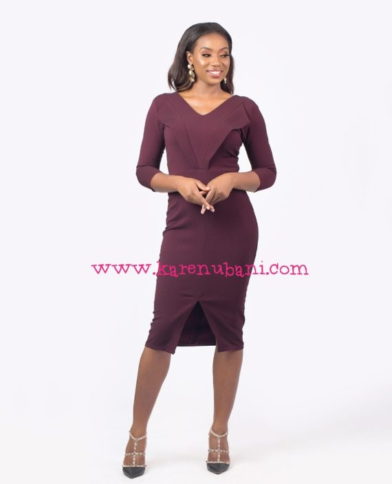The Maroon Tuxedo Detail Dress 1