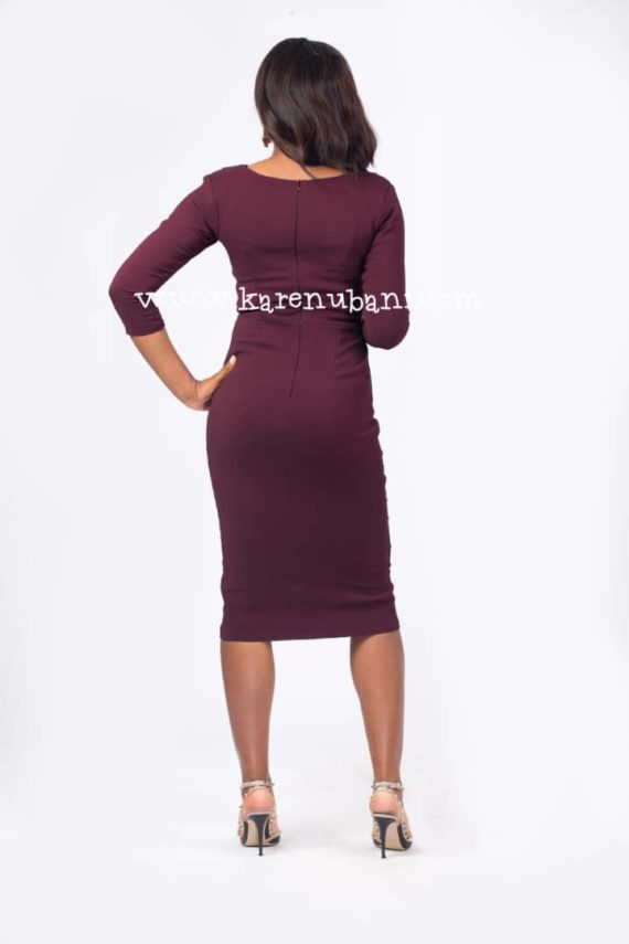 The Maroon Tuxedo Detail Dress 3