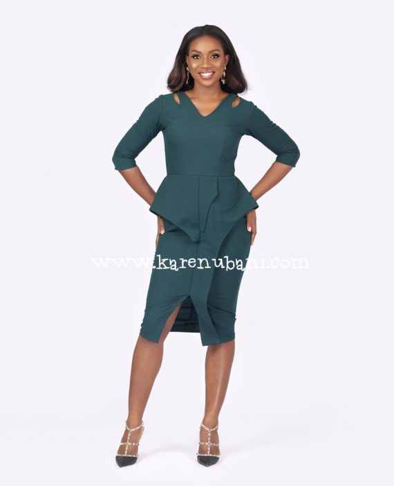 Green Cut Out Detail Peplum Dress 1