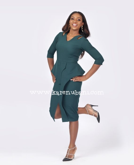 Green Cut Out Detail Peplum Dress 3