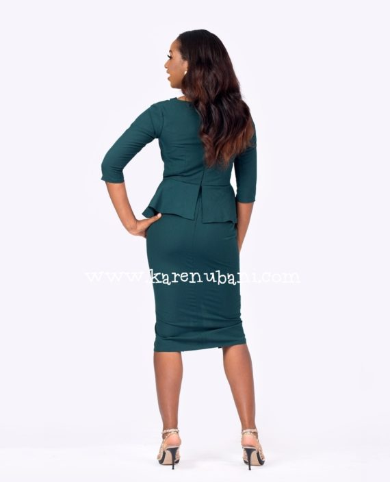 Green Cut Out Detail Peplum Dress 4