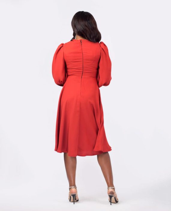 The Meghan Flare Dress In Burnt Orange 3