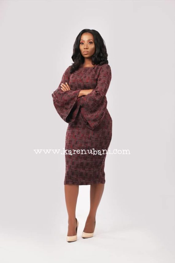 The Congress Dress In Wine Tweed 3