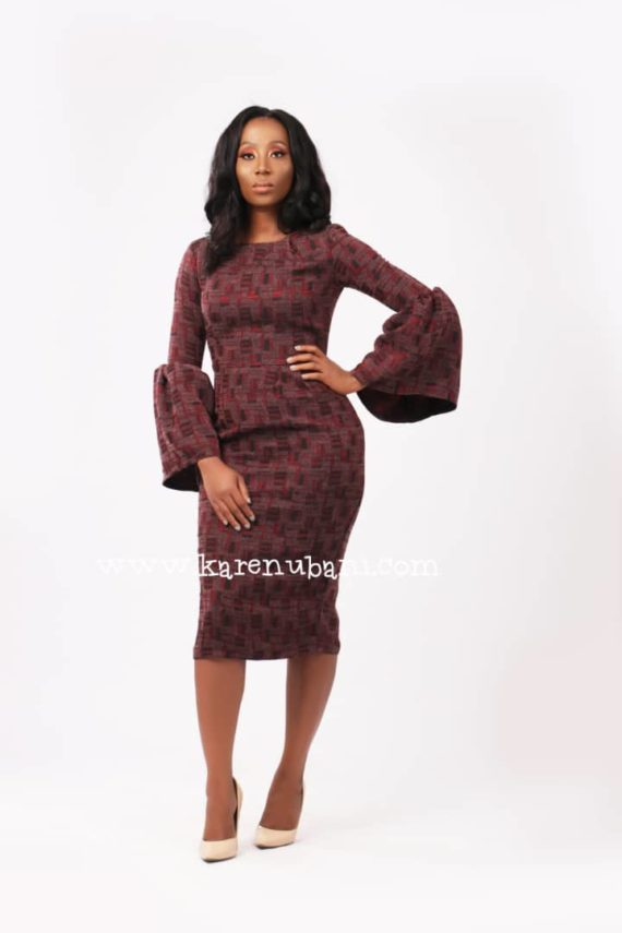 The Congress Dress In Wine Tweed 4