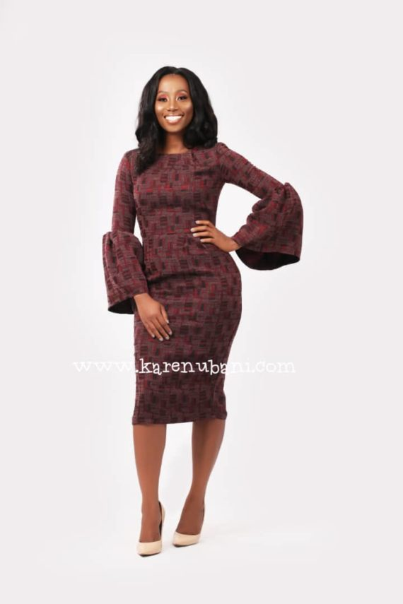 The Congress Dress In Wine Tweed 2
