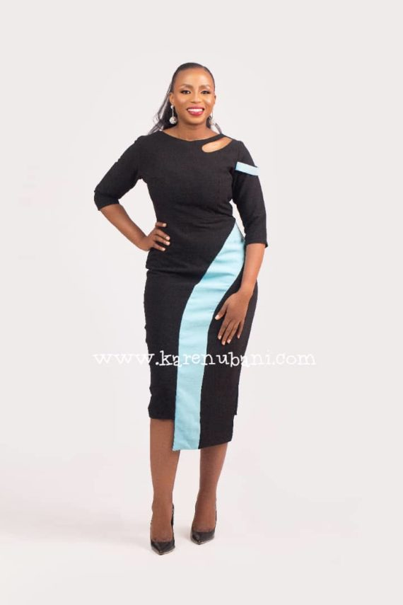 The Michelle Dress (Black and Powder blue) 3