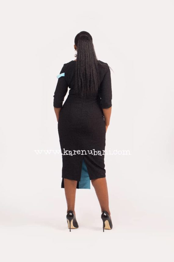 The Michelle Dress (Black and Powder blue) 4