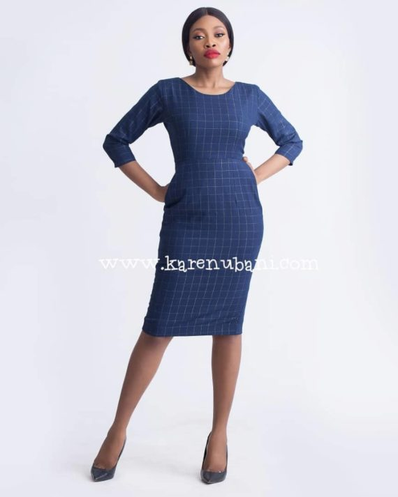 Irene Dress In Wool - Cotton Mix Print 1