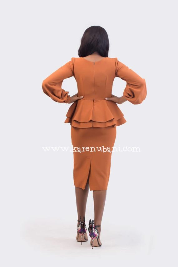 Brown Dual Peplum Dress ( Tint of Burnt Orange) 4