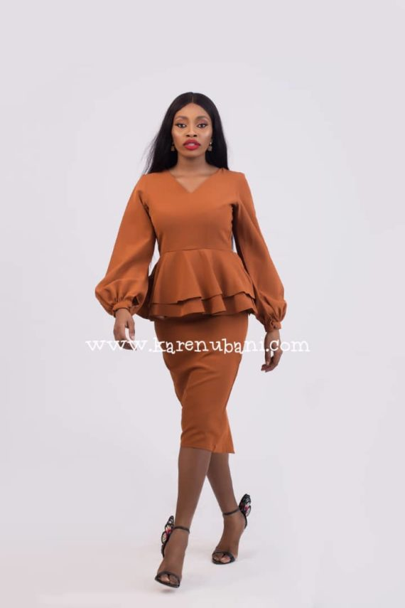 Brown Dual Peplum Dress ( Tint of Burnt Orange) 1