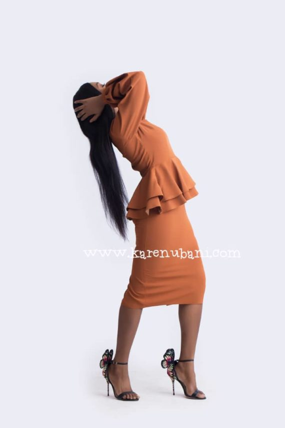 Brown Dual Peplum Dress ( Tint of Burnt Orange) 2