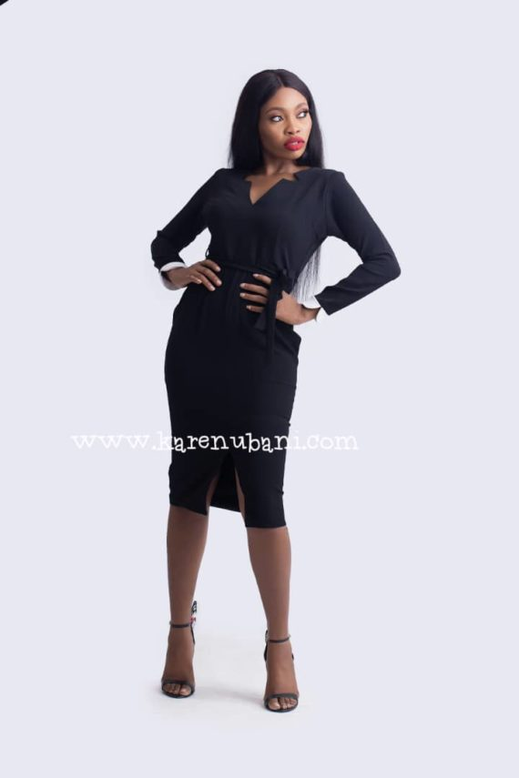 Black Dress With White Detail Sleeve 3