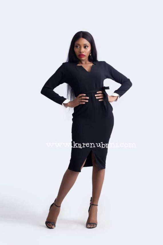 Black Dress With White Detail Sleeve 4