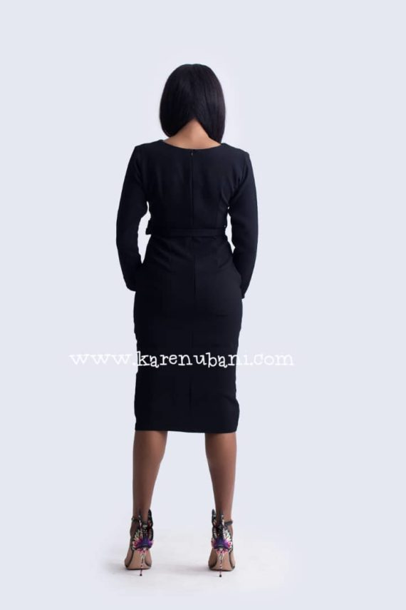Black Dress With White Detail Sleeve 5