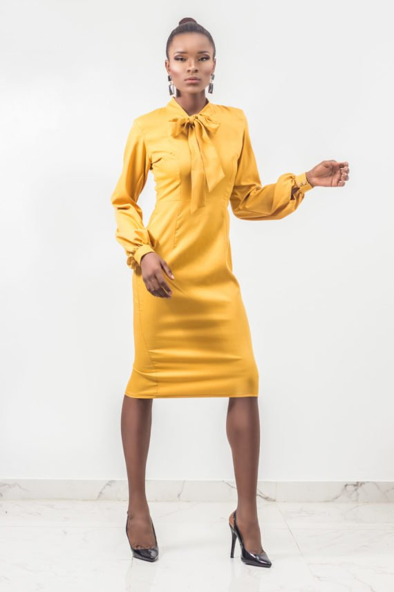 Mustard Yellow Bow Tie Pencil Dress 3