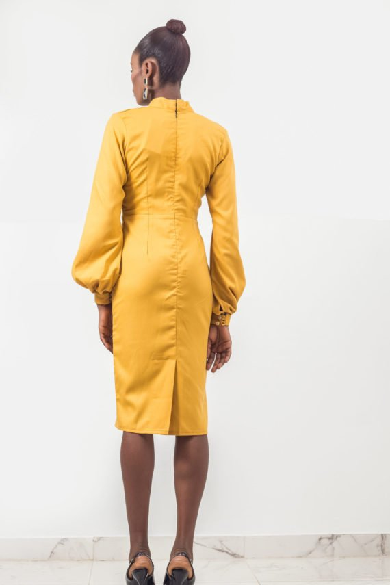 Mustard Yellow Bow Tie Pencil Dress 4