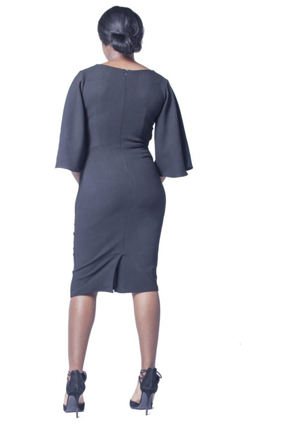 Black Profile Sleeve Pencil Dress 3