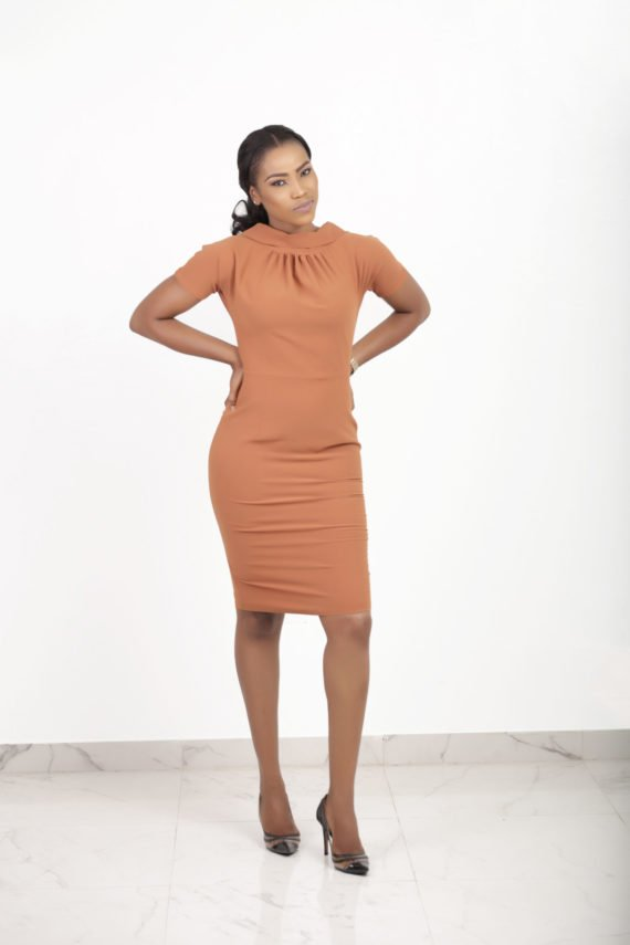 Burnt Orange Drape Detail Midi Pencil Dress 4
