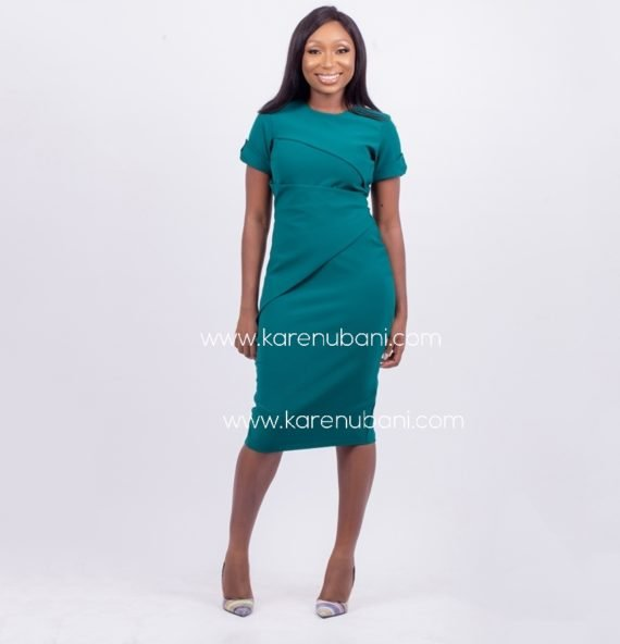 Dark Leaf Green Assymetric Dress 1