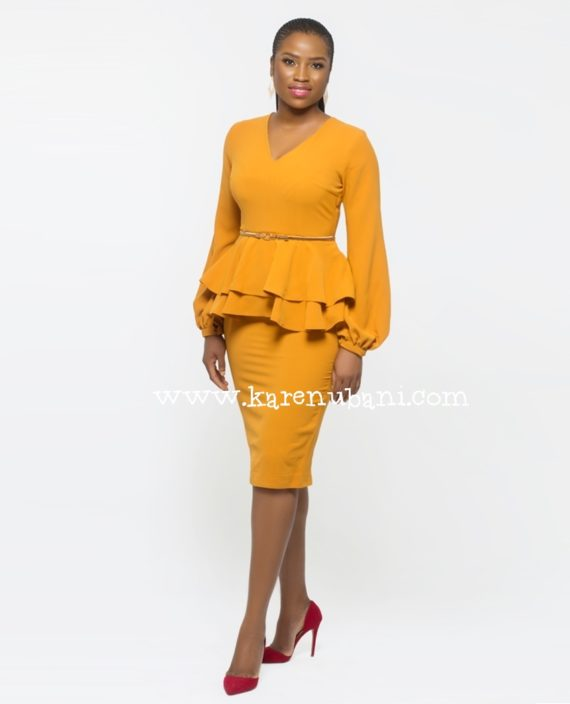 Mustard Dual Peplum Detail Dress 2